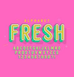 comical linear font design colorful alphabet vector image