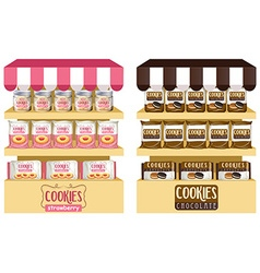 Cookies in bags and jars vector