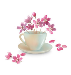 cup with spring flowers vector image vector image