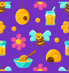 cute happy bees and beekeeping products textile vector image