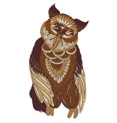 decorated owl on white background vector image