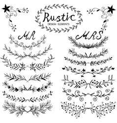 Design elements in rustic style vector image