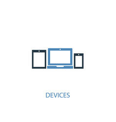 Devices concept 2 colored icon simple blue vector