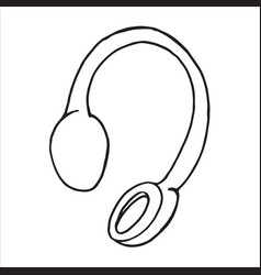 doodle single sketch headphones vector image