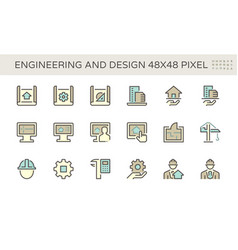 Engineering and architecture icon set design vector
