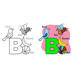 English alphabet coloring book b vector