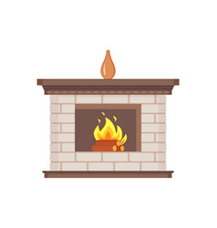 Fireplace with vase standing on top isolated icon vector