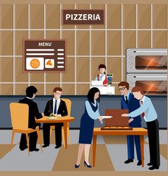 flat business lunch people composition vector image