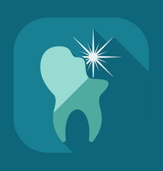 Flat modern design with shadow icons tooth vector