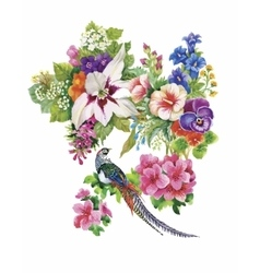 Garden flowers and pheasant birds watercolor vector
