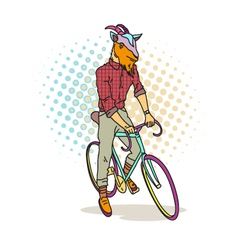 Goat hipster on a bicycle vector