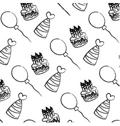Grunge cake candles with hats and balloons vector
