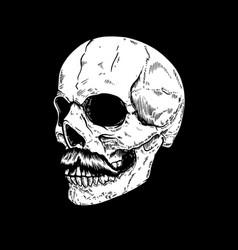 Hand drawn human skull on dark background design vector