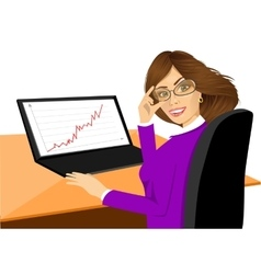 happy young woman using laptop vector image