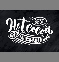 hot cocoa hand lettering composition hand drawn vector image