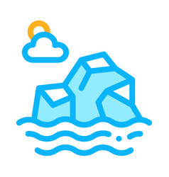 iceberg in sea icon outline vector image