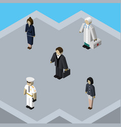 isometric person set of medic girl investor and vector image