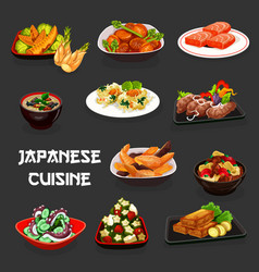 Japanese seafood dishes vegetables and meat vector