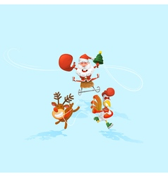 Jolly santa claus in a sleigh santas reindeer and vector