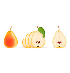 Juicy pear with green leaf vector