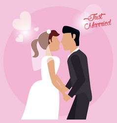 just married couple holding hand love vector image