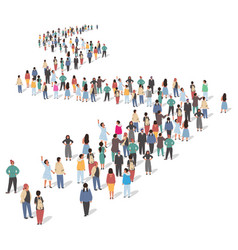 large group people standing in line flat vector image