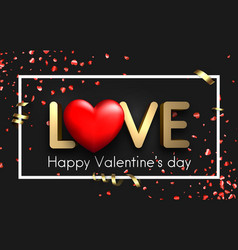 love card with red hearts and serpentine vector image