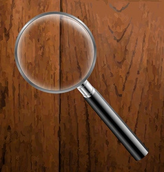 Magnifing Glass With Wooden Background vector