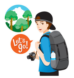 Male backpacker traveller with baggage and camera vector