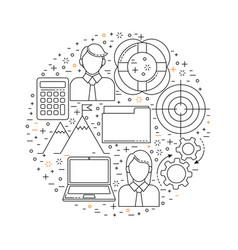management set line art icons vector image