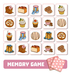 memory game for children cards with sweets and vector image