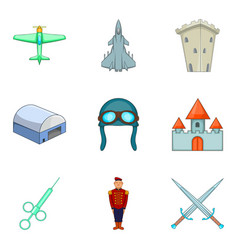 Military interference icons set cartoon style vector