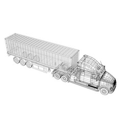 model trailer truck wire-frame eps10 format vector image