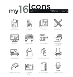 modern thin line icons set basic business vector image