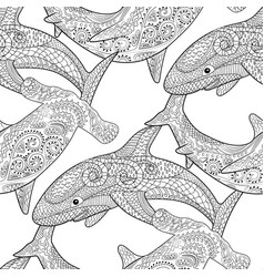 oceanic animals zentangle seamless pattern vector image