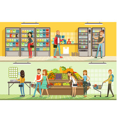 people shopping in supermarket set male and vector image