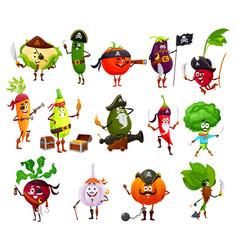 Pirate corsair and buccaneer vegetable characters vector