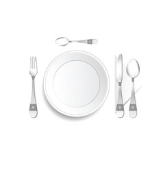 Plate and cutlery setting in silver with detail vector