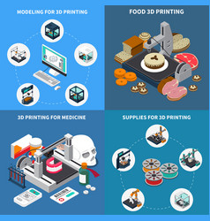 printing 3d isometric design concept vector image