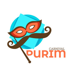 purim carnival isolated icon mask and mustache vector image