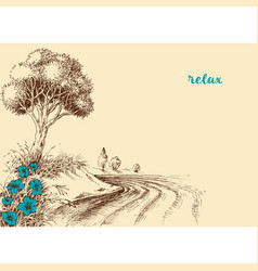 river bank landscape wallpaper natural relaxing vector image