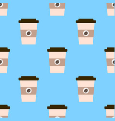 seamless pattern with cups of coffee to go on a vector image