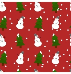 Seamless snowman and fir-trees pattern vector image