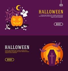 Set halloween banners design concepts vector