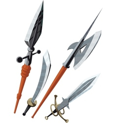 set of weapons blade angled forward vector image