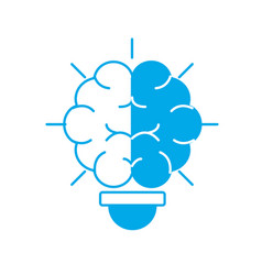 Silhouette bulb with brain inside to creative vector