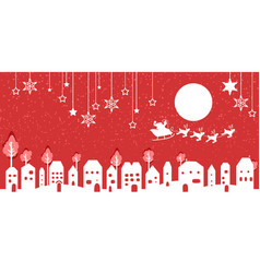 silhouette of santa and village on red background vector image