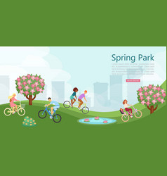spring park with people relaxing in nature city vector image