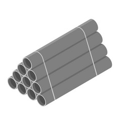 Stacked grey pvc pipes isolated on white vector