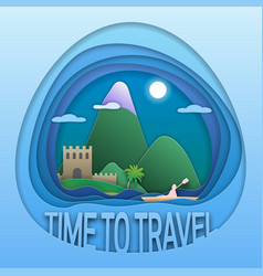 Time to travel emblem design ancient fortress vector
